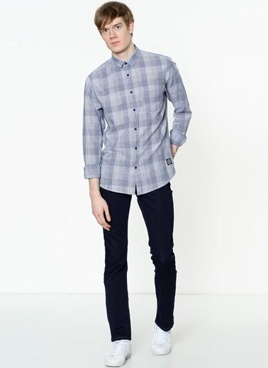 Lee Cooper Kareli Uzun Kollu Gömlek Lacivert